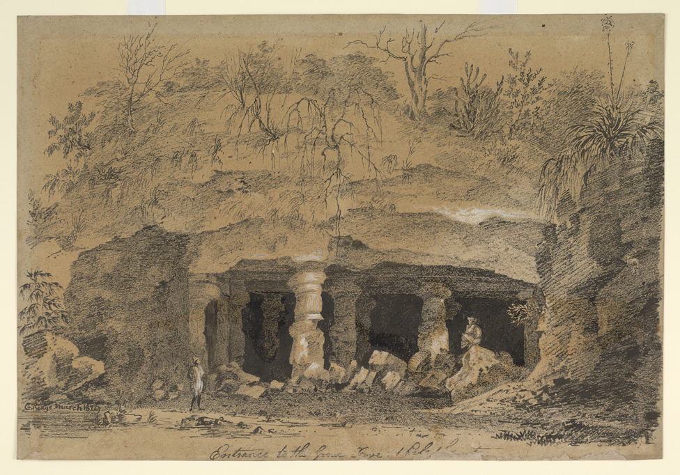 'Entrance to the [Great Cave?] at Elephanta.  G. Ridge.  March 1829'